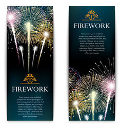 Set of fireworks festive vertical banner vector