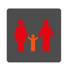 Parents and child rounded square button vector