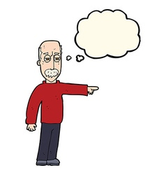 Cartoon old man gesturing get out with thought vector