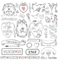 Valentines daywedding framesribbonicon decor vector