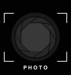 Black camera shutter aperture with space for copy vector