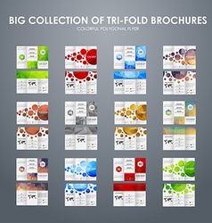 Big set of folding polygonal brochures vector