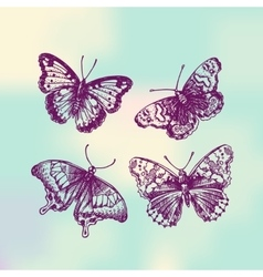 Sketch of butterflies vector