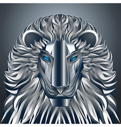 Animals lion blue technology cyborg metal robot vector