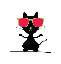 cat with sunglasses vector image