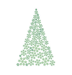 christmas tree made from snowflakes ornament vector image