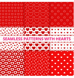 Collection seamless geometric patterns with hearts vector