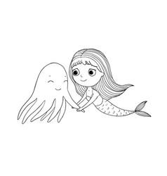 cute cartoon mermaid and octopus siren sea theme vector image vector image