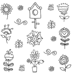 Doodle of spring flower hand draw vector