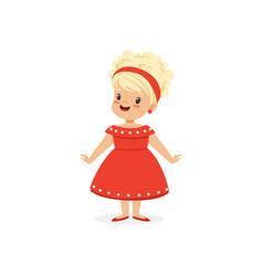 elegant blonde little girl posing in red dress vector image vector image