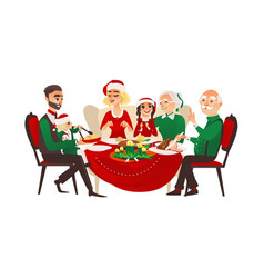 Family celebrating christmas holiday vector