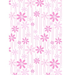 Flowers and stems pink abstract repeat pattern vector