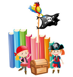 Girls dressed up as pirate crews vector