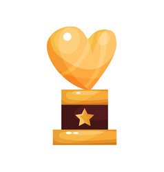 golden heart award trophy statuette cartoon vector image