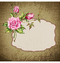 grunge background with roses vector image