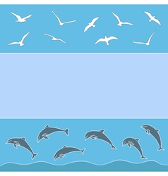 gulls and dolphins vector image vector image