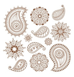 Henna tattoo mehndi doodle elements set vector image vector image