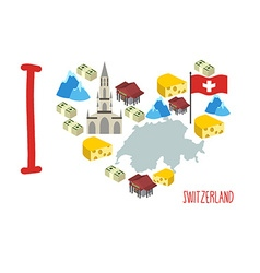 I love switzerland symbol heart of cheese and alps vector