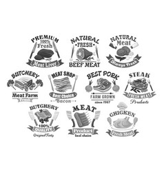 Icons for butchery shop meat products vector