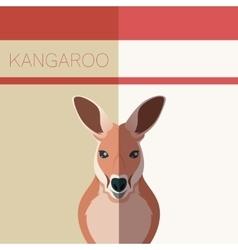 Kangaroo flat postcard vector