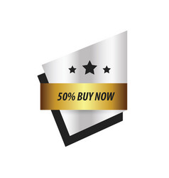 Label buy now and 3 star gold silver vector