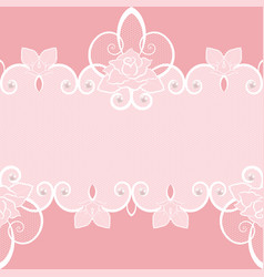 lace seamless pattern with pearls and roses vector image vector image