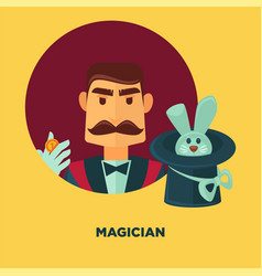 magician promotional poster with man and rabbit in vector image