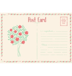Rose bush postcard vector image vector image