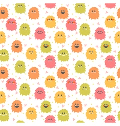 Seamless pattern with cute cartoon smiley monsters vector