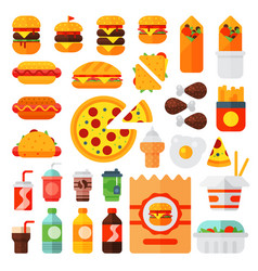 Set of colorful cartoon fast food icons isolated vector