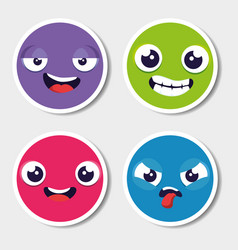 Set of emoji emoticon cartoon vector