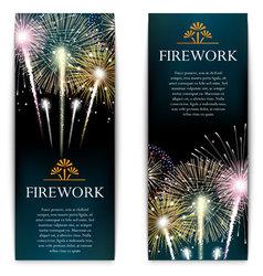 Set of fireworks festive vertical banner vector image vector image