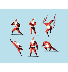 Set of superhero santa claus actions different vector