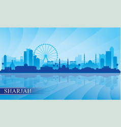 Sharjah city skyline silhouette background vector