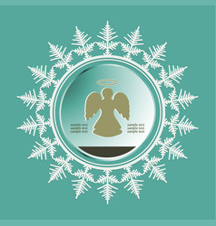 silhouette of a christmas snowflake with an angel vector image vector image