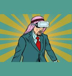 Surprised arab businessman in vr glasses vector