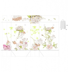 template for bag with flowers vector image