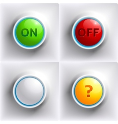 Three colors buttons red green yellow vector