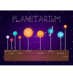 Set of solar system planets in line cartoon vector