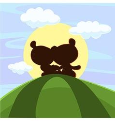 Cute teddy bear sitting in sunset - vector image