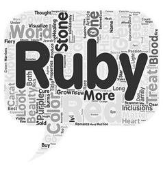 The history of rubies text background wordcloud vector