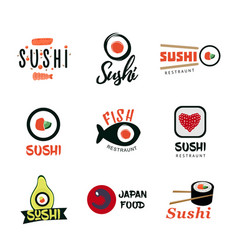 Japanese food logos set vector
