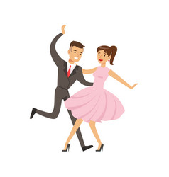 young couple dancing boogie woogie dance colorful vector image
