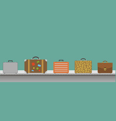 Suitcase or luggage with conveyor belt in the vector