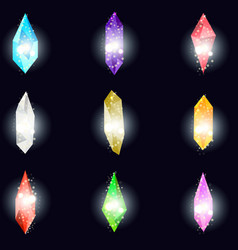 Crystals isolated on black background minerals vector