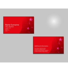 Red business card layout with red stars on vector