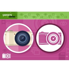Digital camera in frame on lilac background vector