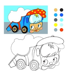 Coloring book cartoon funny car truck vector