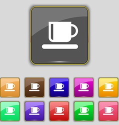 Coffee cup icon sign set with eleven colored vector