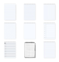 Notebook notepad set include realistic hand drawn vector